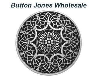50 pcs. Safi 3/4 inch ( 20 mm ) Metal Buttons Antique Silver Color