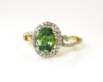 1.35 Carat Demantoid Garnet Ring with Diamond Halo in 14k Yellow Gold (14347)