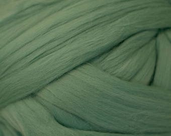 Dyed Merino - Turquoise Green - Solid color commercial dyed - combed top roving spinning felting fiber fibre arts