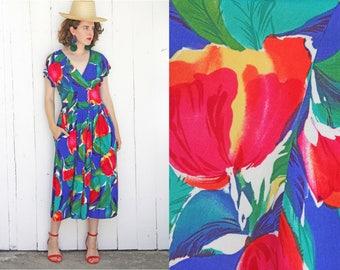Vintage 80s Dress | 80s Large Scale Tulip Floral Print | Medium M