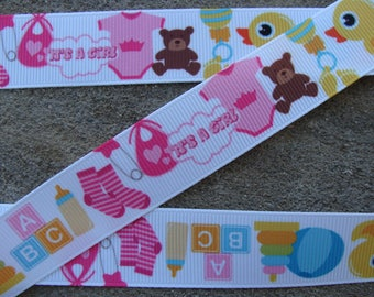 "3 yards ""It's a Girl"" ribbon Baby Shower grosgrain ribbon baby girl ribbon 7/8"" Baptism hair bow ribbon hair bow supplies"