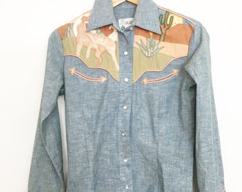 Incredible 70s chambray desert horses and cactus scene  applique western shirt
