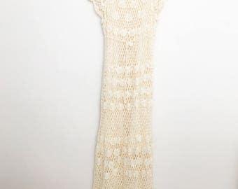 1970s crochet knit bohemian dress