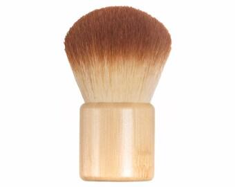 KABUKI Brush Short Bamboo Handle - Synthetic 2 Tone Bristles Vegan Makeup Brush