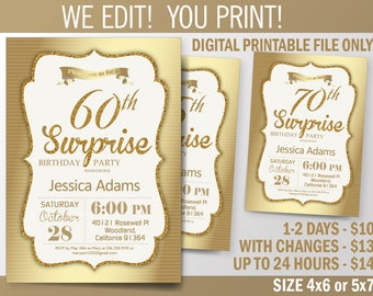 Golden Surprise Birthday Invitation. Women Birthday Party invitation for 50th, 60th, 70th, 80th, or 90th. Printable Digital DIY Card