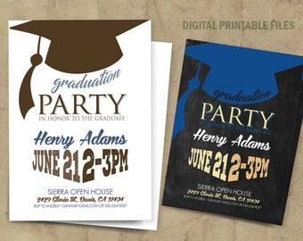 Graduation Invitation, Graduation Party Invitation, Graduation Party Announcement, High School Graduation Announcement, Digital Print Files