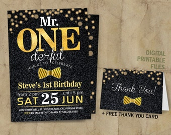 Mr Onederful Invitation, Onederful Birthday, Mr. One-derful Birthday Invitation, Mr. Onederful Birthday Party, Black and Gold First Birthday
