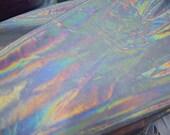 Solid White Flashbulb Holographic Liquid Rainbow Spandex Fabric