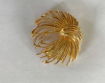 Monet Brooch Starburst Firework Pin Gold Tone Signed