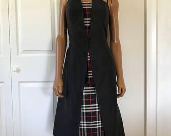1980s Nina Raynor Cocktail Formal Dress Thai Silk Black Plaid Strapless Size 8