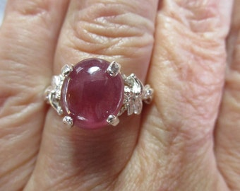 Ladies 5.1ct ruby cupid angel Valentines Day gorgeous sterling silver ring