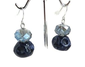 Blue Pierced Dangles, Vintage Pierced Earrings, Dangling Bead Earrings, Silvertone Wires, FREE SHIPPING
