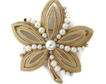 Vintage Trifari Gold Tone Faux Pearl Flower Brooch, Five Leaf Brooch Designer Signed Costume Jewelry Gift Idea