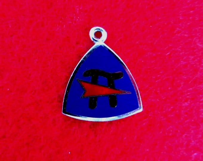 Sterling Silver Vintage Pi Symbol Pennant Charm, Triangle Enameled Silver Pendant