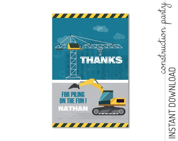 Construction Thank You Card INSTANT DOWNLOAD