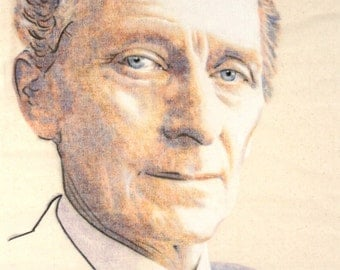 One-off, hand drawn portrait of Peter Cushing, in charcoal and pastel on calico