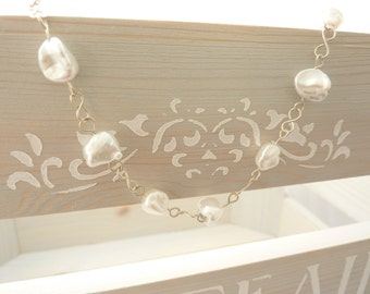 Sterling Silver & Keshi Pearl Bracelet