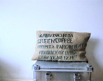 Jute kussenhoes, koffiezak kussen, minimalistische kussenhoes, gerecyceld, eco kado, Italiaans- Nederlands eco-design. JJePa