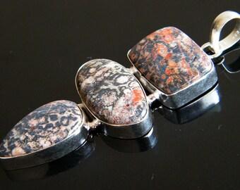 "Leopard Skin Jasper Pendant, 3.1"" Silver Plated Gemstone Pendant, Natural Gemstone Pendant, Handmade Jewelry SH-1711"