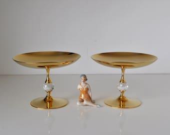Valerio Albarello Gold Plated Swarovski Crystal Compote Dishes