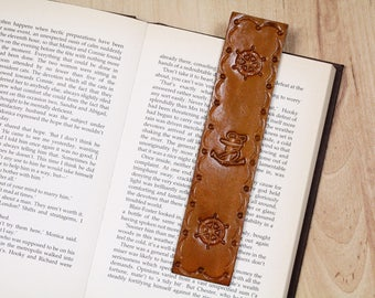 Hand Tooled Leather Anchor Bookmark, Nautical Bookmark, Leather Bookmarks, Nautical Gift For Sailor, Ships Wheel Sailing Bookmark, NAM96