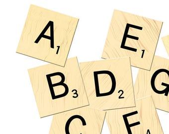 Printable Alphabet Art, ABC Instant Download, Scrabble Alphabet Letters, Downloadable, Scrapbooking, Printable Art, Alphabet Printables