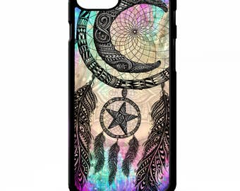 Crescent moon & stars magic Dreamcatcher print pattern tie dye colourful girly cover for iphone 4 4s 5 5s 5c 6 6s 7 plus SE phone case