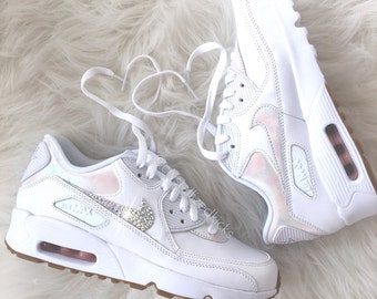 Nike Air Max 90 Silver Shoes Made with SWAROVSKI® Crystals - White/Prism Pink/Gum Light Brown