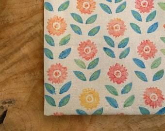 Block Print Fabric, Sunflower Fabric | Colorful hand block printed fabric, Scandinavian print, Scandi fabric, hand printed folk fabric.