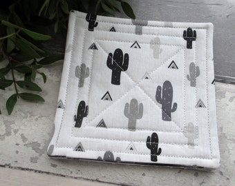 Quilted Coasters, Fabric Coasters, Cactus Coasters, Housewarming Gift, Drink Coasters, Monochrome Coasters, Black & White Decor