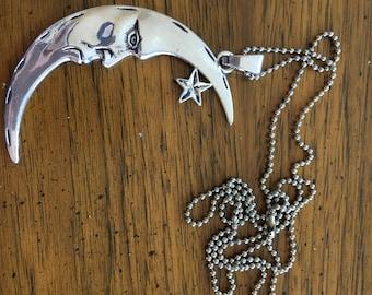 HUGE Moon & Star Pendant Necklace