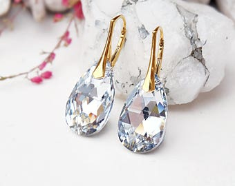 24k gold plated Swarovski crystal earrings Swarovski wedding jewellery Wedding bridesmaids earrings Clear crystal dangle teardrop earrings 1