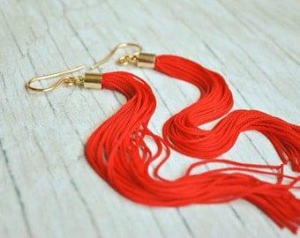 Fringe earrings | tassel earrings | red tassel earrings | long earrings | large earrings | extra long earrings | boucles d'oreille