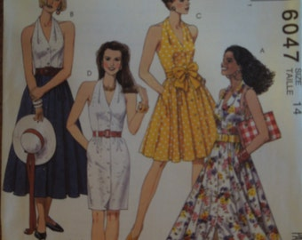 McCalls 6047, size 12, halter dress, misses, petite, UNCUT sewing pattern, craft supplies