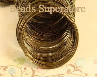 55 mm Antique Bronze-Plated Steel Memory Wire - Nickel Free, Lead Free and Cadmium Free - 30 Loops