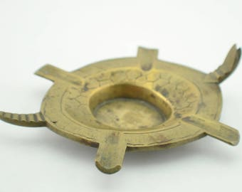 Rustic Brass Turtle Ashtray , Vintage Brass Decor