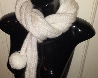 Knit Scarf, Knit Shawl, White Shawl, White Scarf, Pompom Shawl, Pompom Scarf, White Knit Pompom Shawl, White Knit Pompom Scarf