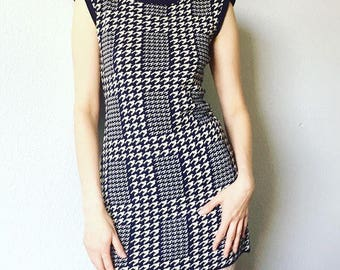 1960's Navy Blue Houndstooth Micro Mini Dress Size Small