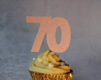 70th Birthday Glitter Cupcake Topper, Set of 12, Various Colours Available