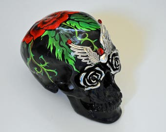 Red Roses, Black Skulls, Art and Collectables, Sculptures, Figurines, Day Of The Dead, Hand Painted, Sugar Skulls, Father's Day Gifts, Gifts