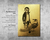 A4 Elegant Animal Art Print Picture on Imitation Gold Leaf and wooden frame home decor handmade Astronaut