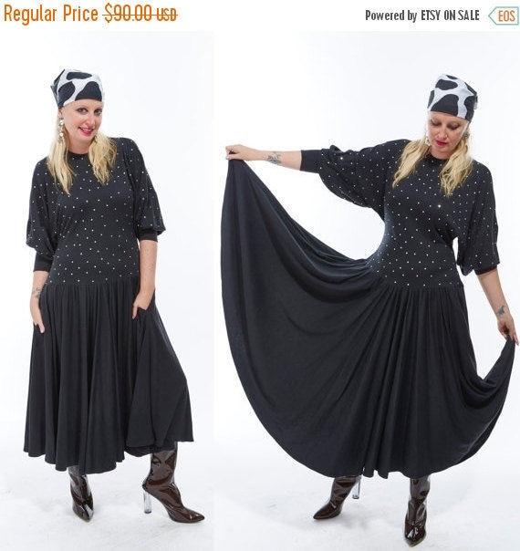 Vtg 80s RHINESTONE Gem Studded Maxi Party Dress Full Sweeping DOLMAN Sleeve Batwing Goth Avant Garde Minimalist Glam Retro Disco Oversized