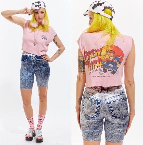 Vtg 90s SPANDEX Acid Washed Novelty Print Jean Bike SHORTS cut Offs Retro Kitschy Raver Club Kid Grunge Dancewear Sea Punk Stretchy Wiggle