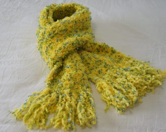 Handmade Crochet Super Soft Long Yellow Scarf - Yellow Blue Green