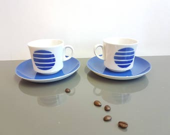 Arabia of Finland coffee cup and saucer. Pop Large Blue dot design. Finlanda