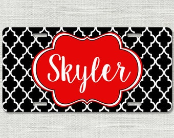 Monogrammed Car Tag, Monogram License Plate, Black Lattice Red Monogram Car Tag, Personalized Car Tag, Mothers Day Gift, Gifts For Her 9315