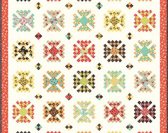 """Granny Style Quilt Pattern by Fig Tree& Co., measures  64"""" X 76"""""""
