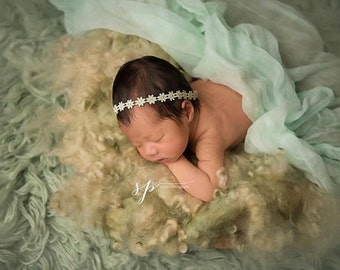 Newborn Cheesecloth Wrap in Light Sage Green, Large Size 3ft x 6ft - Photo Prop Wrap