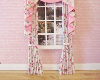 Miniature dolls  house swag and tail effect curtains drapes pink and cream floral fabric 4 inches wide