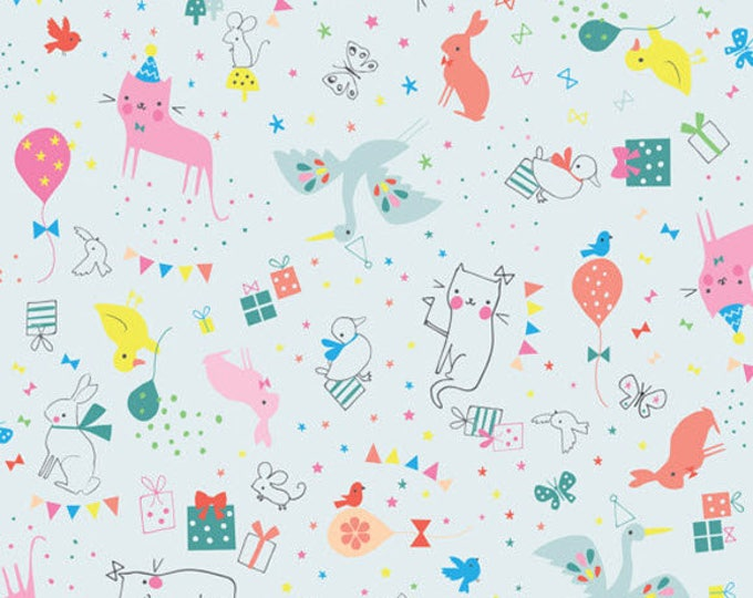 HIP HOORAY - Party Animal in Blue - Cats Bunnies - Cotton Quilt Fabric - by Lizzie Mackay for Blend Fabrics - 121.101.02.1 (W3791)
